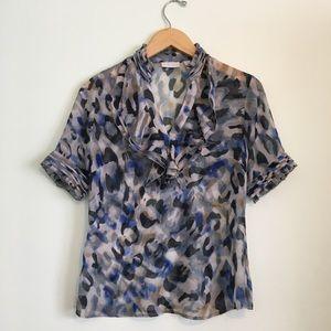 Blue Animal Print Sheer Blouse New York & Co Small